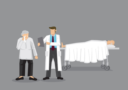 Young doctor attending to weeping old woman and old man lying on the bed in the background. Cartoon vector illustration on health care issues among older people concept.