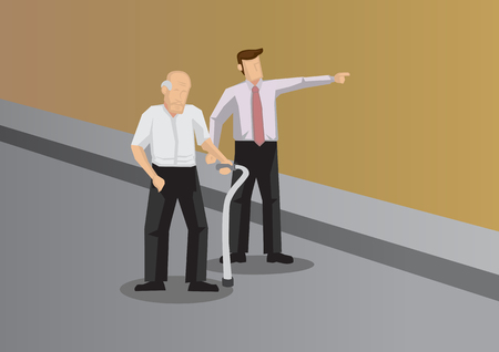 Kind young man showing the way to elderly with walking aid. Vector illustration for helping and kindness concept. Ilustrace