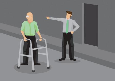 Hombre joven antipático apuntando al anciano con ayuda para caminar. Ilustración de vector de concepto social.