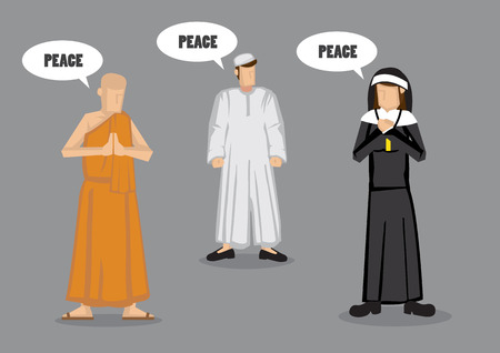 Monk, nun and muslim prophet with speech balloons saying Peace. Vector illustration on universal goal across different religions concept isolated on grey background.
