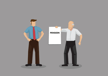 Cartoon old man holding up a sign that says Pension to young businessman. Vector illustration on demanding for pension concept isolated on grey background. Çizim