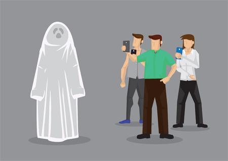 Fotografen die mobiele telefoons gebruiken om een foto te maken van iemand in Halloween-spookkostuum. Vectorillustratie geïsoleerd op een grijze achtergrond.