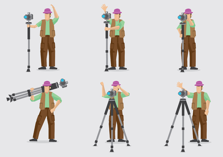 Set of six vector illustration of a cartoon photographer doing his work with his photography equipment consisting tripod and SLR camera. Vettoriali
