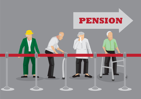 Group of old people standing behind queue barrier waiting in line for pension payment. Vector illustration on waiting for pension concept isolated on grey background.