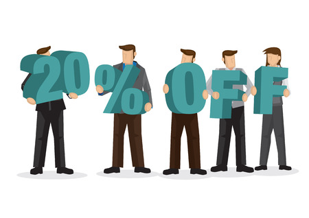 Group of business people holding giant alphabet to form 20 percentage off. Concept of promotion, teamwork or discount. Cartoon isolated vector illustration.