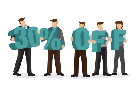 Group of business people holding giant alphabet to form 30 percentage off. Concept of promotion, teamwork or discount. Cartoon isolated vector illustration.