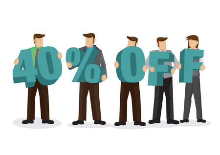 Group of business people holding giant alphabet to form 40 percentage off. Concept of promotion, teamwork or discount. Cartoon isolated vector illustration. Ilustração