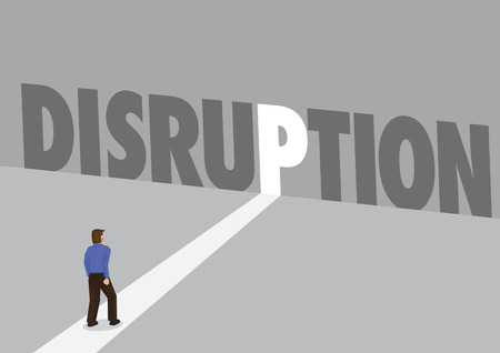 Businessman walking towards a light path with the text disruption. Business concept of business disruption, innovation or digital transformation. Vector illustration.