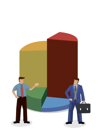 Set of businessman giving a presentation with a giant market chart graph. Showing the data statistic. Isolated vector cartoon illustration.  イラスト・ベクター素材