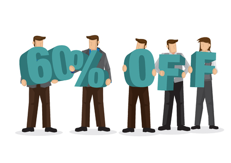 Group of business people holding giant alphabet to form 60 percentage off. Concept of promotion, teamwork or discount. Cartoon isolated vector illustration. Ilustração