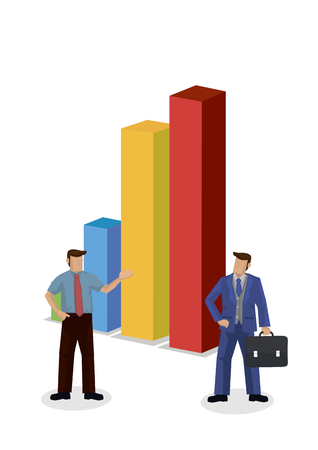 Set of businessman giving a presentation with a giant market chart graph. Showing the data statistic. Isolated vector cartoon illustration.