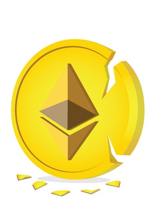 Illustration of giant crack Ethereum coin. Business concept of the downfall of cryptocurrency and the danger of investing in virtual currency.