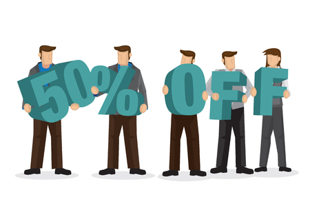 Group of business people holding giant alphabet to form 50 percentage off. Concept of promotion, teamwork or discount. Cartoon isolated vector illustration.