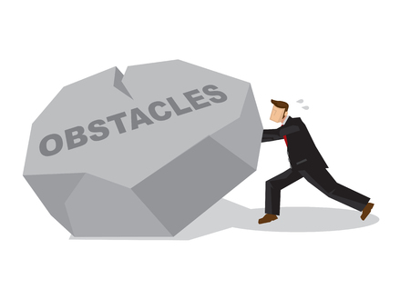 Illustration of a businessman lifting a giant rock. Metaphor concept of obstacles challenge, breakthrough and business risk. Vector isolated cartoon.