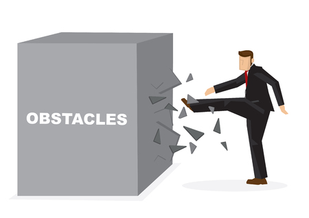 Illustration of a businessman kicking a giant block title obstacles. Metaphor concept of obstacles challenge, breakthrough and business risk. Vector isolated cartoon.