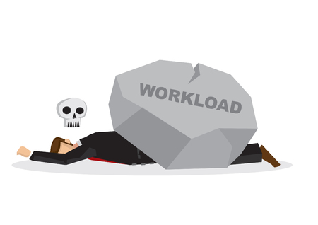 Dead business employee under a giant rock title workload. Corporate business overwork, disaster, misfortune or fail concept. Isolated vector illustration.