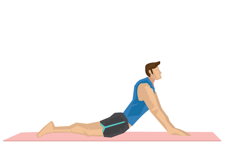 Illustration of a strong man practicing yoga with a cobra pose. Concept of yoga calmness, relaxation and wellness. Vector illustration.
