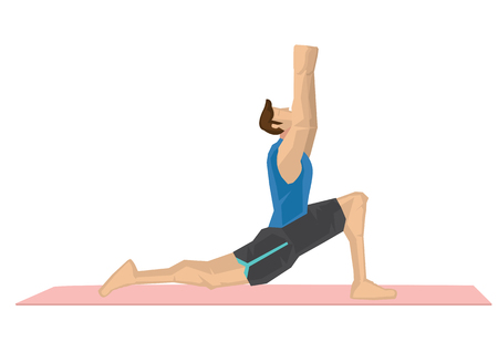 Illustration of a strong man practicing yoga with a cresent moon pose. Concept of yoga calmness, relaxation and wellness. Vector illustration. Ilustração