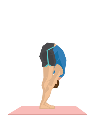 Illustration of a strong man practicing yoga with a deep forward fold pose. Concept of yoga calmness, relaxation and wellness. Vector illustration.