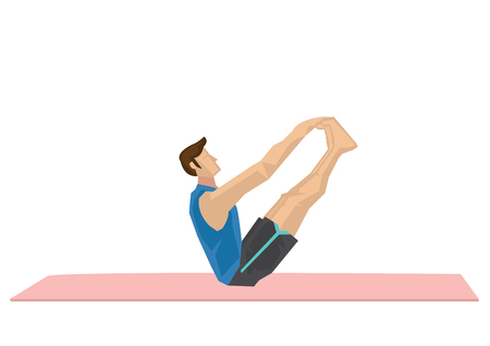 Illustration of a strong man practicing yoga with a double hold toe pose. Concept of yoga calmness, relaxation and wellness. Vector illustration.