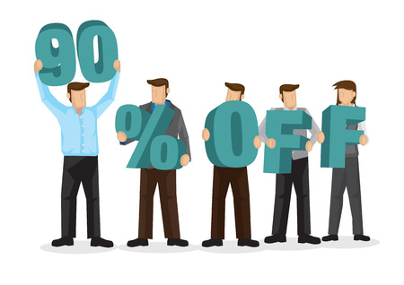Group of business people holding giant alphabet to form 90 percentage off. Concept of promotion, teamwork or discount. Cartoon isolated vector illustration. Ilustração