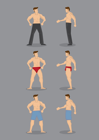 Set of three vector cartoon illustration of sexy topless men with muscular body wearing underwear, boxer shorts and long pants in front and side view isolated on plain grey background.