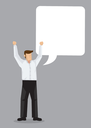 Businessman with speech bubble with empty copy space on grey background. Vector illustration concept of successful businessman.
