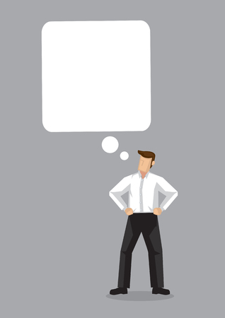 Business man thinking with speech bubble with empty copy space on grey background. Vector illustration.