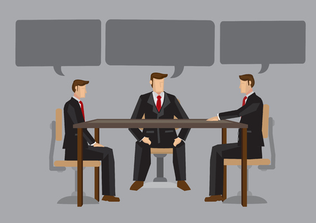 Business men in meeting with speech bubbles with empty copy space on grey background. Vector illustration concept