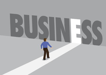 Businessman walking towards a light path with the text business. Business concept of corporate success, innovation or overcoming challenge