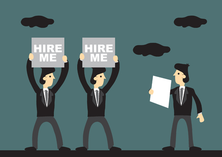Business professionals holding up Hire Me sign for selection. Cartoon vector illustration on unemployment and job search concept.