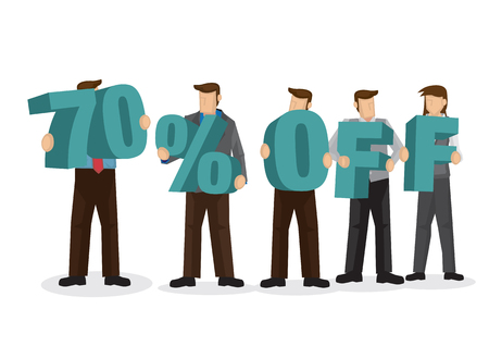 Group of business people holding giant alphabet to form 70 percentage off. Concept of promotion, teamwork or discount. Cartoon isolated vector illustration.