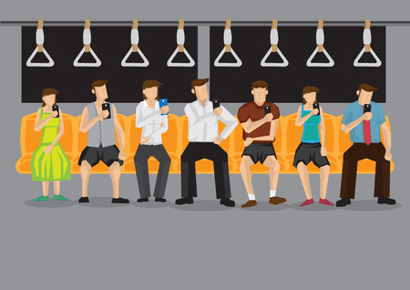 All commuters looking at their mobile phones inside public transport. Vector illustration on technology and modern lifestyle concept.
