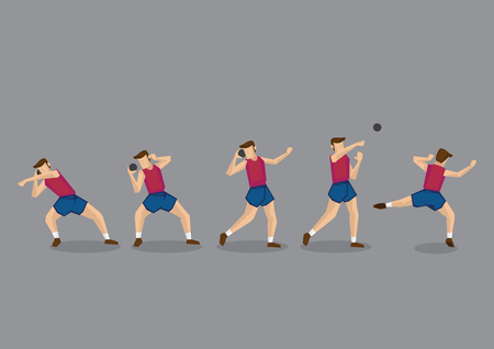Cartoon character of shot putter throwing iron ball. Series of vector illustration for track and field shot put sport event.