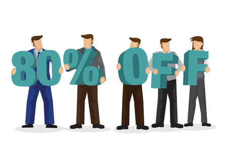 Group of business people holding giant alphabet to form 80 percentage off. Concept of promotion, teamwork or discount. Cartoon isolated vector illustration.