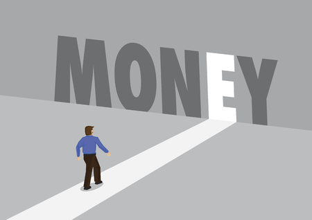 Businessman walking towards a light path with the text money. Business concept of profit, financial or challenges. Vector illustration.