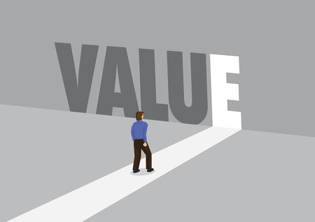 Businessman walking towards a light path with the text value. Business concept of corporate value. Vector illustration.