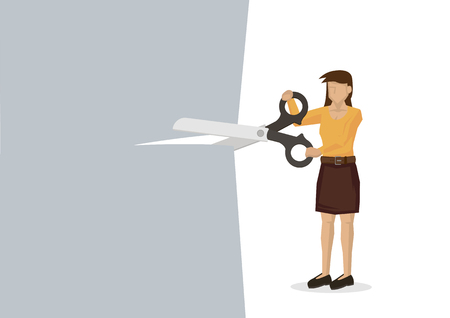 Woman holding a giant scissor cutting across the paper. Concept of price cut, discount, tax cut or promotion offer. Vector illustration.