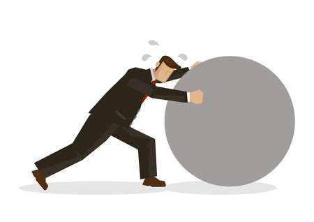 Businessman in suit pushing a giant rock. Concept of hardworking or efficiency of a businessman. Vector illustration with a white background.