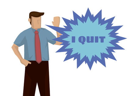 Frustration businessman wanting to quit for his job. Concept of overwork or resignation. Isolated vector illustration. Illustration