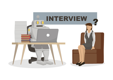 Robot interviewing an office worker. Depicts automation, future job market and artificial intelligence. Concept of Robot replacing jobs including recruitment. Isolated vector cartoon illustration.