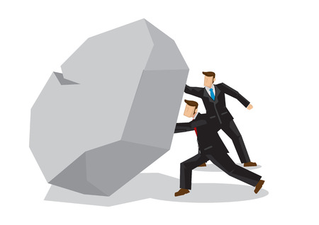 Illustration of two businessmen lifting a giant rocktogether. Metaphor concept of obstacles challenge, teamwork; breakthrough, business risk. Vector isolated illustration.