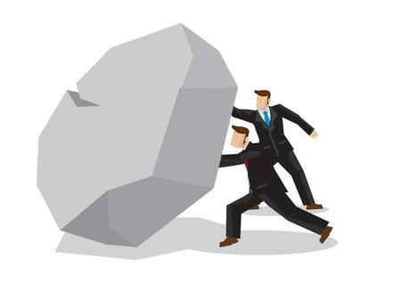 Illustration of two businessmen lifting a giant rocktogether. Metaphor concept of obstacles challenge, teamwork; breakthrough, business risk. Vector isolated illustration.