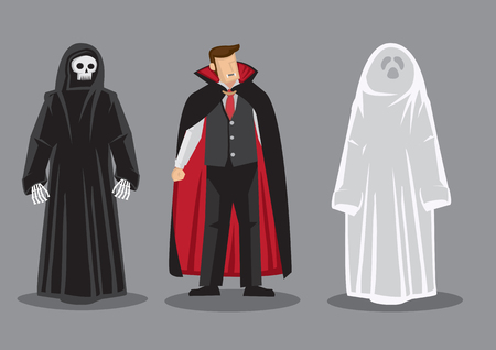 Cartoon vector illustration of three fantasy horror characters, death, dracula and white ghost isolated on grey background. Illustration