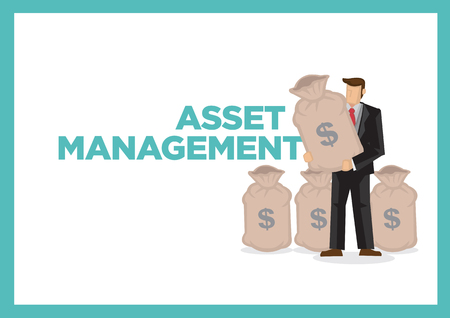 Layout of a businessman with bags of money with a title of asset management. Concept of corporate money management