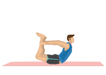 Illustration of a strong man practicing yoga with a bow pose. Concept of yoga calmness, relaxation and wellness. Vector illustration.