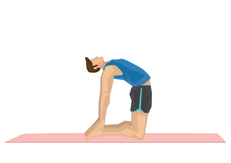 Illustration of a strong man practicing yoga with a camel pose. Concept of yoga calmness, relaxation and wellness. Vector illustration.  イラスト・ベクター素材