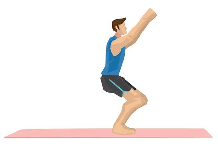 Illustration of a strong man practicing yoga with a chair pose. Concept of yoga calmness, relaxation and wellness. Vector illustration. Vetores