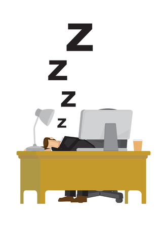 Tired businessman exhausted and sleeping in the office desk. Humor office life. Isolated vector illustration.