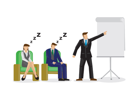 Two sleepy and bored employees at a business speaking presentation. Showing a problem and failure in the company culture. Vector isolated illustration. Stock Vector - 121214474